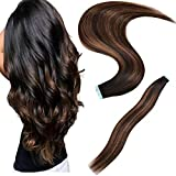 GEELOOK 18inch Tape in Hair Extensions Remy Human Hair Skin Weft Straight Thick Natural with 12 Pieces Replacement Tape 20pcs 50g Natural black mixed chestnut brown #1b/6/1b