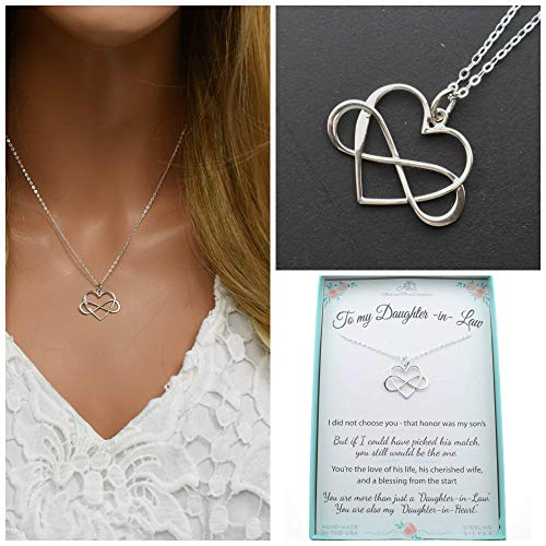 Infinity Heart Charm Pendant In Sterling Silver On An 18' Sterling Silver Cable Chain, Daughter In Law Gift From Mother In Law. M3101