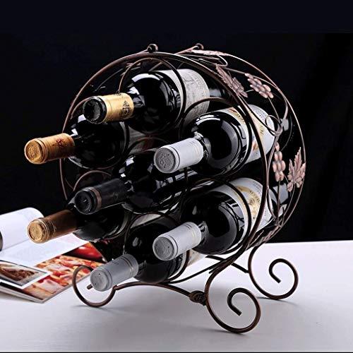 HJXSXHZ366 Estantería de Vino Botellas de Derecho Libre encimera de Metal Vino Rack de Almacenamiento de Escritorio Vino Soporte Soporte, Estante del Vino Rojo de Bronce Estante de Vino pequeño