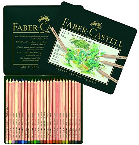 Faber-Castell 112124 - Estuche de metal con 24 ecolápices Pitt pastel, multicolor