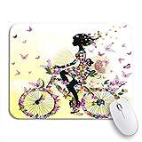 Gaming mouse pad menschen mädchen auf dem fahrrad in romantischen cartoon natur frau rutschfeste gummi backing computer mousepad für notebooks maus matten