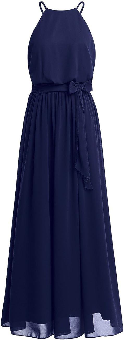 iiniim Women's Halter Chiffon Wedding Maxi Dress Evening Party Bridesmaid Long Dresses