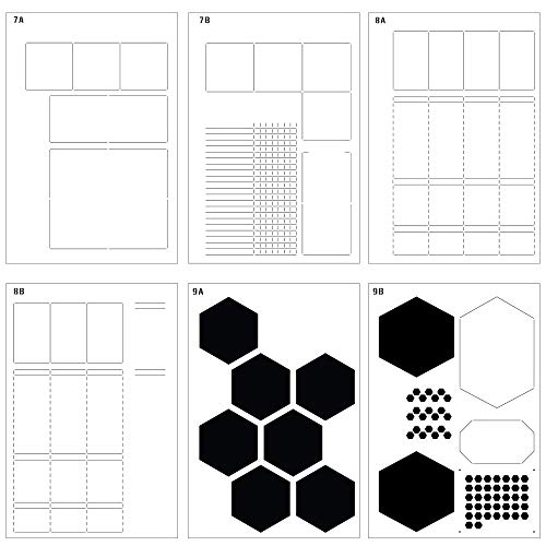 Speedy Spreads Journal Stencils (Weekly Layouts #3) - x6 Stencils for A5 Dot Grid Bullet Journal Notebook, Save Time on Full-Page Layouts, DIY Templates for Productivity Planner by Sunny Streak