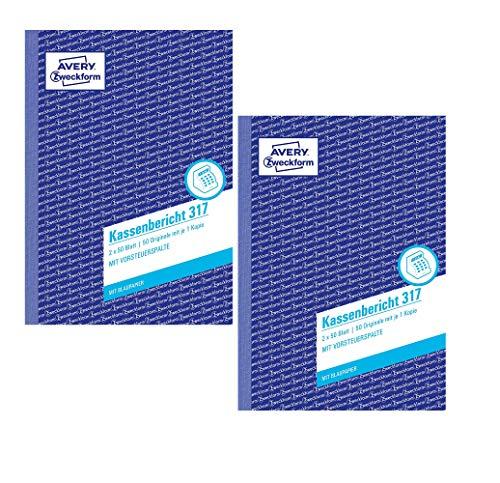 AVERY Zweckform 317 Kassenbericht weiß/gelb (2 Stück, Kassenbericht A5)