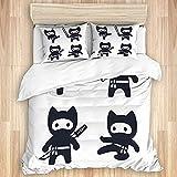 PATINISA Bedding Juego de Funda de Edredón,Cute Dibujos Animados Ninja Cat Set Adorable Estilo japonés Moderno en Blanco y Negro,Microfibra Funda de Nórdico y Fundas de Almohada-(Cama 140 x 200cm)