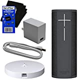 Ultimate Ears ue MEGABLAST Portable Wi-Fi & Bluetooth Speaker (Graphite Black) with Amazon Alexa Built-in, Waterproof, Dust & Drop Proof + Charging Dock + USB Cable & Plug Adapter + HeroFiber Cloth