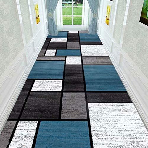 GAO XING SHOP Hall matta löpare, enkel blått och vitt rutnät gång trappmatta, hushåll långa ränder kan skäras till storlek hotellkaffe bordsset (storlek: 120 × 500 cm)