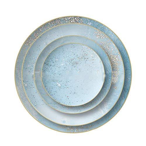 DHTOMC Placa de Cena de 4 Piezas Set de Placa de Porcelana Hueso China Vajilla Restaurante Placas de bistec para el hogar Platos de cerámica Cerámica (Color: Azul, Tamaño: Un tamaño) Xping