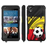 Flak Jacket Dual Armor with Kick-Stand Phone Cover, Belgium Flag with Soccer Ball - Mobiflare HTC Desire 626 Flak Jacket Dual Armor with Kick-Stand Phone Case