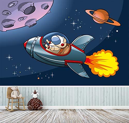 Fototapete selbstklebend | Rakete im Weltraum | in 150x100 cm | Kindertapete Tapete Wand-deko Dekoration Kinderbild Kinderzimmer Jungs blau | 501040