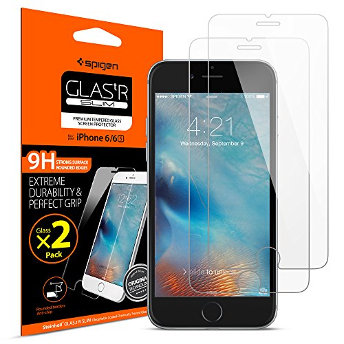 Spigen Tempered Glass iPhone 6s Screen Protector [ Case Friendly ] [ 9H Hardness ] for iPhone 6 / iPhone 6s (2 Pack)