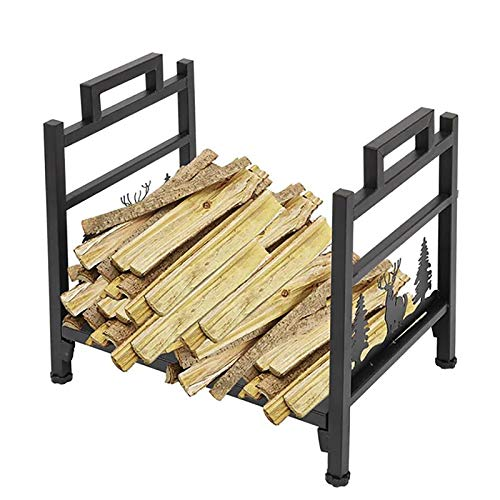 Small Classic Elk Fireplace Firewood Log Rack Holder, Metal Kindling Logs Storage Stand for Inside/Outside/Farmouse/Stove/Fire Pit, Black