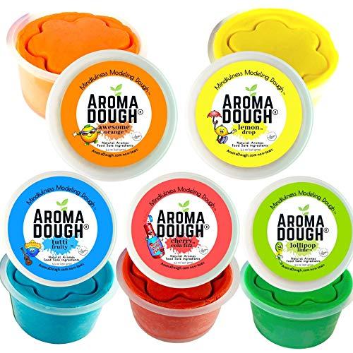 Aroma Dough School Scents Aromatherapy Dough - Non-Toxic, Soy-Free, Gluten Free Play Dough - Sensory Play Dough 5 Pack