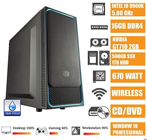 - CeO Theta V9 - PC Desktop Intel I9-9900K 8-Core 16MB Cache 5.00 GHz | 16GB RAM | 500GB SSD |1TB HDD | USB 3.0 |Nvidia GT720 2GB | FULL HD / 4K | Raff. Liquido | Wi-Fi | DVD | WIN10 PRO