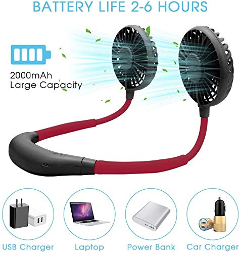 EEM Portable Hanging Neck Fan, Hands Free Rechargeable Fan with 3 Speed Adjustable Headphone Design, 360° Free Rotation, 7 Colors of LED Light Conversion for Sports,Music Festival, Traveling