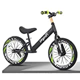 Bicicleta Sin Pedales Niños Grande Niño Adolescentes Bicicleta de Equilibrio con 16 Pulgadas Rueda de Aire Negro Ligero Marco de Aluminio Bicicleta Sin Pedales, para Niños Altura 118-150cm, Soporta Ha