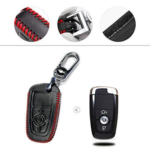 Muchkey Hand nähen Echt-Leder Schlüsselcover Autoschlüssel hülle Schutz hülle für F ord Smart 3-Tasten-Taste Tye H Rot Nähen 1 Stück