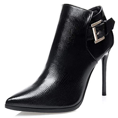 Moda otoño Zapatos de tacón Alto Mujer Hebilla de Invierno Botines Mujer Sexy Punta Estrecha talón Fino Felpa Forrada Zip Zapatos de Mujer