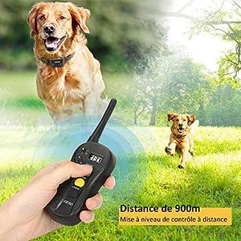 LOETAD Collier de Dressage pour Chien, Collier Electrique Chien avec Télécommande de 900 Mètres Collier Étanche IPX7 Rechargeable avec 3 Modes Beep/Vibration/Choc (Version Améliorée)