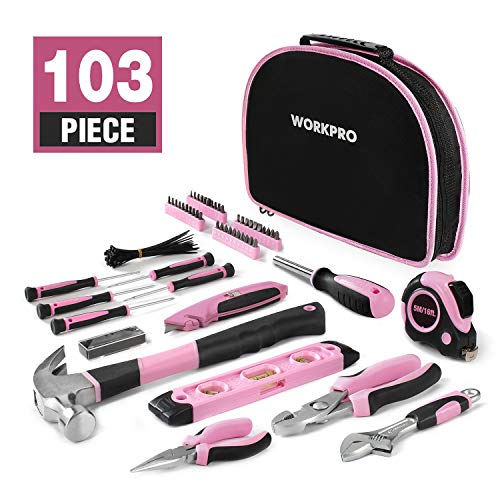 WORKPRO 103-Piece Pink Tool Kit - Ladies Hand Tool Set with Easy Carrying Round Pouch - Durable,...