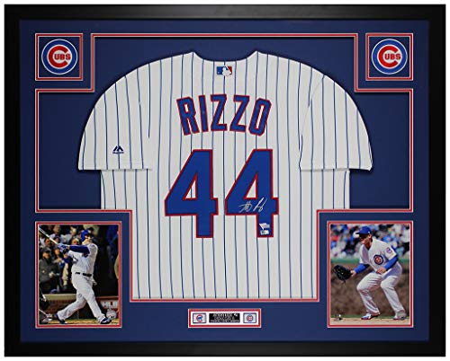 Anthony Rizzo Autographed Pinstriped Chicago Cubs Jersey - Beautifully Matted and Framed - Hand Signed By Anthony Rizzo and Certified Authentic by Fanatics - Includes Certificate of Authenticity