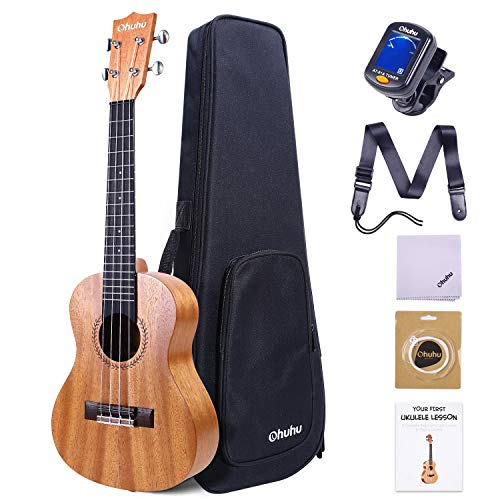 23 Inch Ukeleles for Adults, Ohuhu Concert Ukuleles for Uke Beginners, with Tuner, Ukalalee Backpack Style Gig Bag, Ukelele Strap (Strap Pins and Aquila Strings Installed) for Father's Day Gift Idea