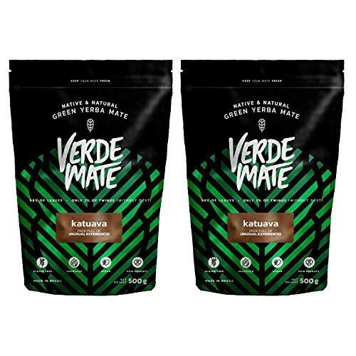 Yerba Verde Mate Green Té Katuava | Verde Mate Green Katuava | Yerba Mate de Brasil |Alta calidad | Yerbe mate muy fuerte | Sin gluten| Sin humo (1000g (2x500g))