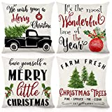 CDWERD Christmas Throw Pillow Covers 18x18 Inches Christmas Decorations Rustic Farmhouse Pillowcase Cotton Linen Cushion Case for Home Decor Set of 4