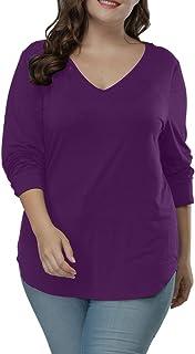 Allegrace Women's Plus Size T Shirts Long Sleeve Asymmetric Hem Casual Tee Tops