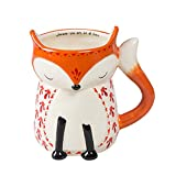 Natural Life Ceramic Folk Mug- Large, 16 oz, Cute Fox Cup With Handle for Your Coffee, Tea, Soup, Oatmeal, More
