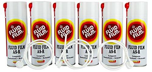 6x FLUID FILM AS-R Rostschutz Korrosionsschutz Hohlraumversiegelung Rostschutzmittel Korrissionsschutzmittel Hohlraumkonservierung 400 ml & 3x Sonde