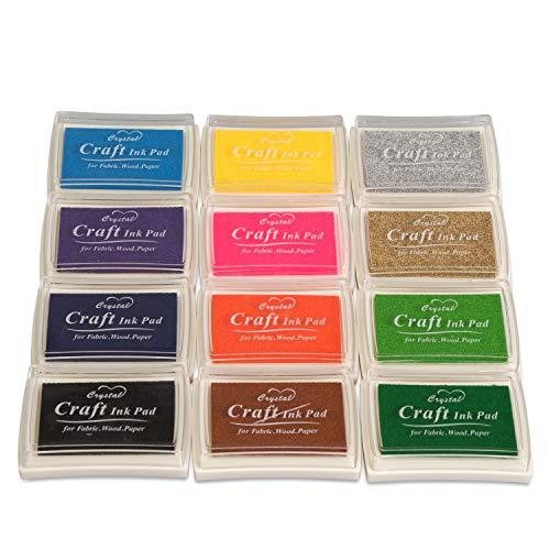 Grinscard Stempelkissen-Set 12 Bunte Farben - Kissengröße ca. 7 x 5 x 2 cm - Kreative Stempelkissen zum Scrapbooking und Basteln
