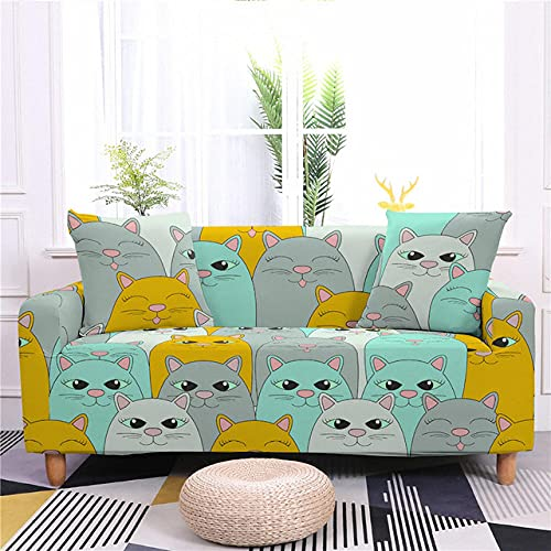 Cute Cats Pattern Sofa Cover for Living Room Chair Sofa 1/2/3/4 Seater Elastic Slipcovers All Corners Sofa Furniture Stretch Set,CQ148,7,3,Seater 190,230cm