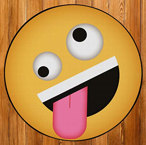 DEERLUX Style Round Funny Smiley Face Kids Area Rug, Crazy Emoji Design, 36