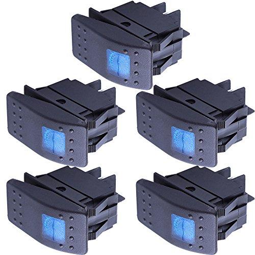 Mintice 5 X Interrupteur Commutateur à Bascule LED Bleu 4 Pin pour Voiture Marine Moto