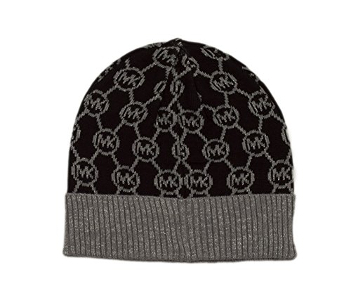 Michael Kors Jet Set Logo with Lurex Cuff Hat (Black/Derby/Silver)