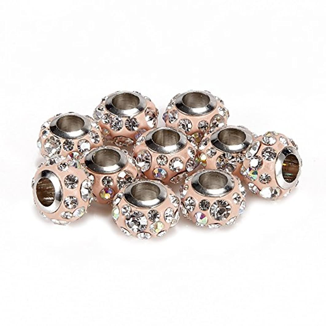BRCbeads 10Pcs Silver Plate Rose Pink Color Rhinestone Murano Lampwork European Glass Crystal Charms Beads Spacers Fit Troll Chamilia Carlo Biagi Zable Snake Chain Bracelets.