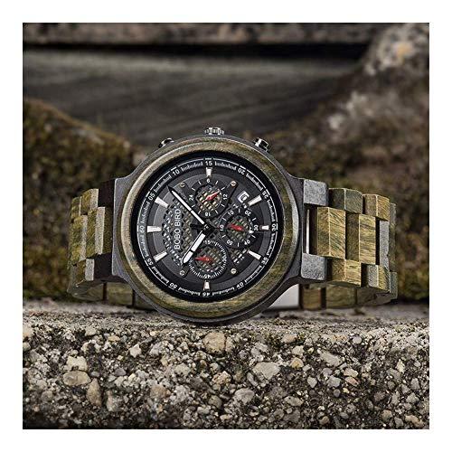 Leyue Reloj de Madera para Deportes de Hombres, Camuflaje Personal Date Fecha de cronógrafo Reloj de Madera de Cuarzo de los Hombres, Movimiento Importado de Japón