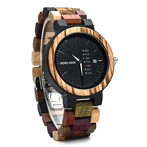Ykop Holzuhr Herren, 100% Sandelholz Natürlich Armbanduhr Business Analoge Quarz Uhren mit Kalender Classic Multi Farben Uhren Analog (Schwarz)