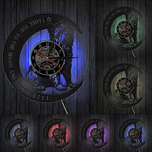 West Highland White Terrier Reloj de pared con disco de vinilo Diseño moderno de animales Tienda de mascotas Decoración Cachorro Reloj colgante de pared Regalo para amantes del perro Luces LED