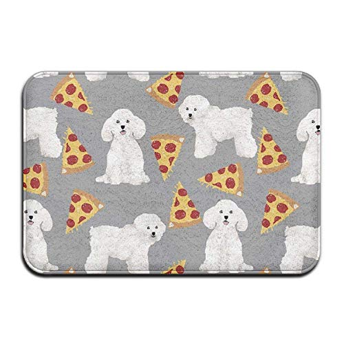 "Klotr Felpudos, Non-Slip Bath Mat (15.7"" X 23.6""), Bathroom Rug Mat, Bichon Frise Pizza Senior Design Area Rugs for Living Room"
