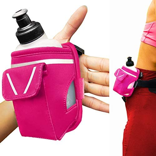 2 in 1 Running Fun Pink Handheld 12 Oz Water Bottle Running Belt Add on Straps Onto Your Hand product image