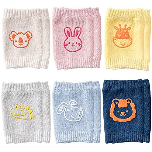 Rodilleras Bebe,6 Pares Protectores de rodilla de niños Calentador de piernas elástico para bebé Antideslizantes rodilleras bebé,para bebés gatear