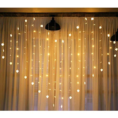 LED-Fenstervorhang Eiszapfen-Lichterketten, warmweiße Herzform hängende Lichterketten, Stromversorgung durch Batterien oder USB-Anschluss für Hochzeitsfeier im Partyzimmer