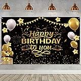 ETHEL Compleanno Festa Decorazioni,Compleanno Poster in Tessuto Sfondo,Poster di Segno in Oro Nero Festa di Compleanno,per Giardino Tavolo Parete Decorazioni