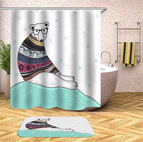 ZZZdz De witte beer draagt een kleurrijke trui. Tapijt met fluweel. 40 x 60 cm. Douchegordijn. 3D-HD-druk. Waterdicht 180 x 180 cm.