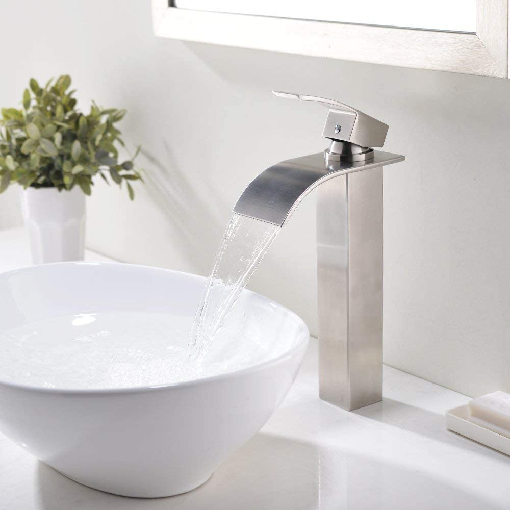 Buy Vesla Home 1 77 Inches Body Wide Tall Waterfall Single Handle Brushed Nickel Vessel Sink Bathroom Faucet Lavatory Vanity Sink Faucet With Large Rectangular Spout Online In Vietnam B07r39wvv5