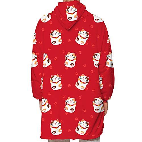 Sudadera con capucha de gran tamaño, paquete y dos lados pueden usar mantas con capucha, suaves y cálidas, cómodas, de un tamaño