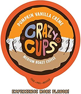 Crazy Cups Flavored Coffee for Keurig K-Cup Machines, Pumpkin Vanilla Crème, Hot or Iced Drinks, 22 Single Serve, Recyclable Pods