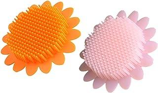 Beaupretty 2本の赤ちゃん風呂ブラシシリコーンボディブラシ頭皮マッサージブラシ赤ちゃんのためのシャンプーブラシ(オレンジ+ピンク)